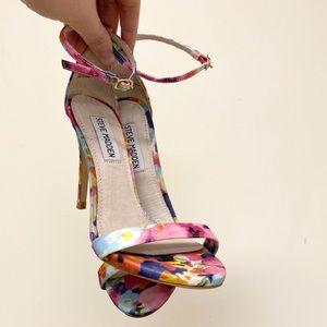 Steve Madden Stecy Floral Print Ankle Strap Heels